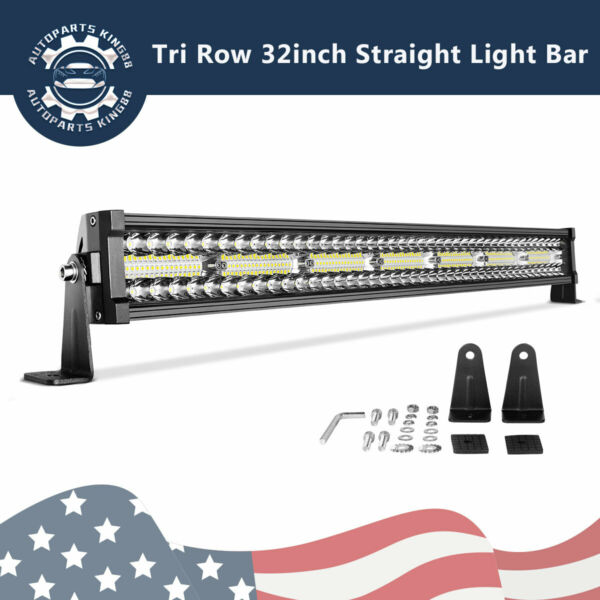 32inch Tri Row LED Work Light Bar Combo Flood+Spot Offroad Fit Jeep Offroad 4WD