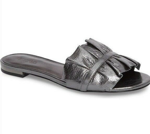 NEW Michael Kors Bella Slide Sandals Leather Shoes Size 6 Gunmetal Grey
