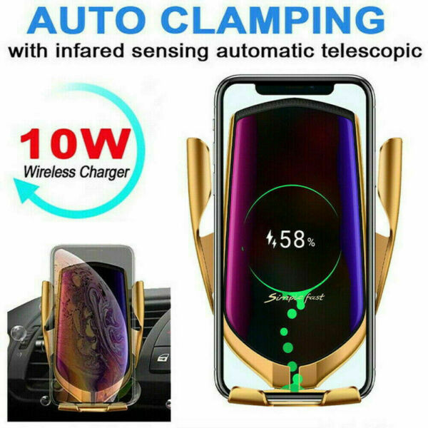 360° Automatic Clamping Qi Wireless Fast Charging Car Charger Mount Phone Holder
