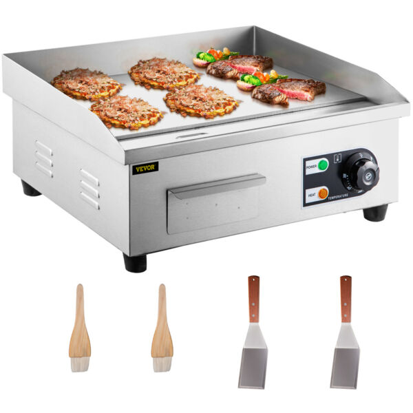 3000W 22quot; Commercial Electric Countertop Griddle Flat Top Grill Hot Plate BBQ