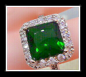 14K White Gold Over Made with 5K Green Russian Emerald Size9