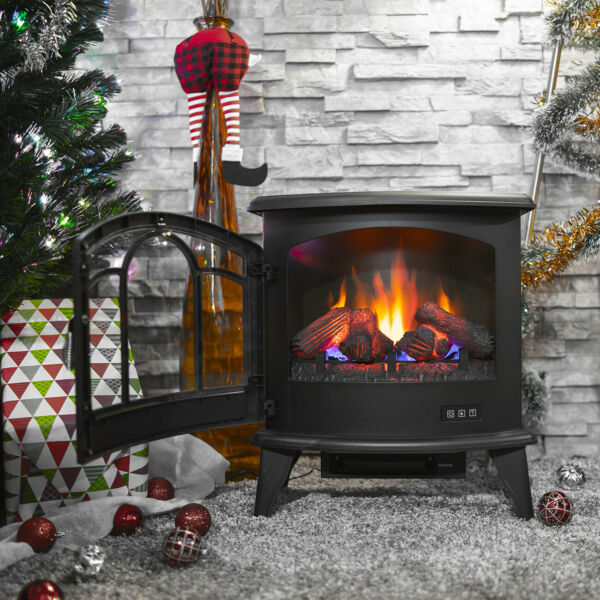 Electric 1400W Fireplace Heater Fire Flame Stove Wood Free Standing w Remote