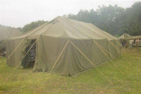 military tent GP large 18 x 52#x27; vinyl green and black camouflage new
