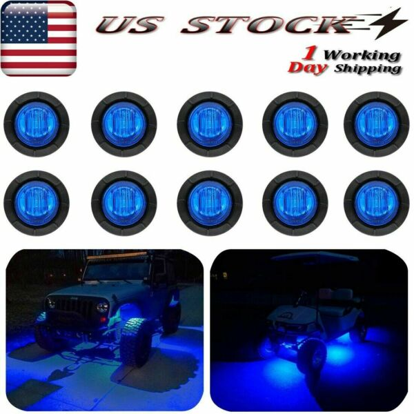 10x Round Blue LED Rock Light For JEEP SUVs Off-Road Underbody Car ATV 4x4 RV