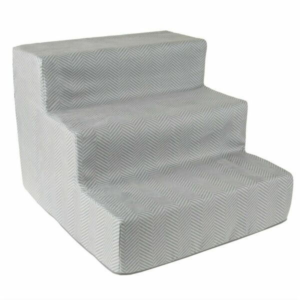 3 Steps High Density Foam Pet Stairs Removable Zipper Cover Washable 12 In. Hi $28.99