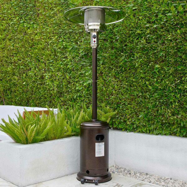 48000 BTU Patio Heater Propane Piezo Ignition Powder Coated Hammered Bronze