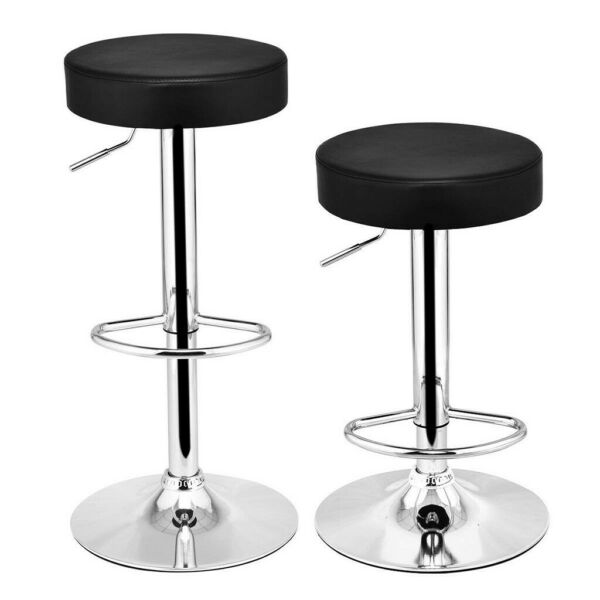 Set of 2 Bar Stools Leather Adjustable Swivel Pub Counter Height Dining Chair