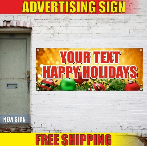 CHRISTMAS YEAR Happy Holidays Advertising Banner Vinyl Sign Flag party decor new
