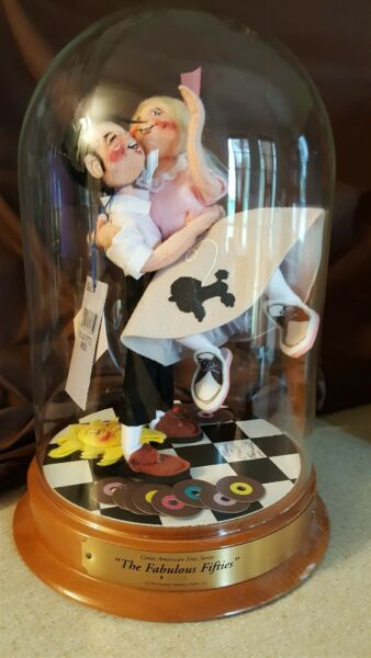 Annalee Collectible Doll Set - Rare 1996 THE FABULOUS FIFTIES 50'S With Display