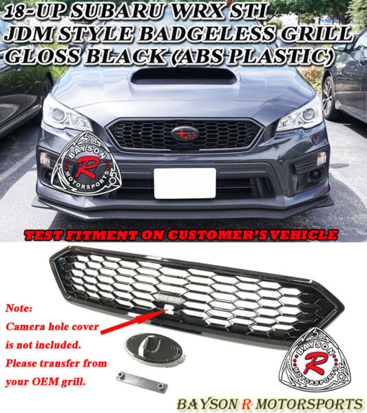 JDM-Style Badgeless Front Grille (ABS Gloss Black) Fits 18-20 Subaru WRX STi