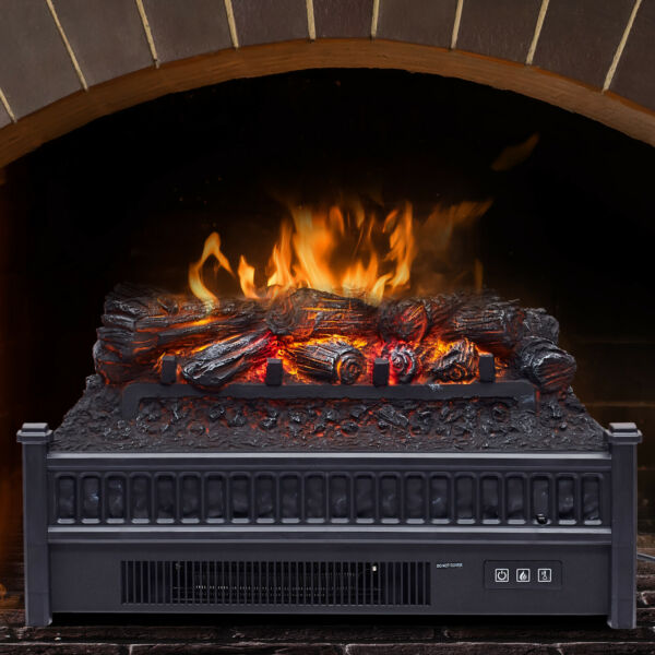 4777BTU Electric Fireplace Heater  Log Set with Realistic Ember Bed RC