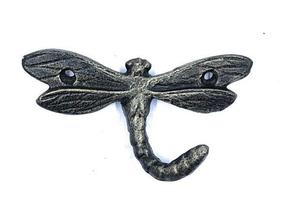 Dragonfly Single Hook Cast Iron Gold Rubbed Rustic Garden Home Decor