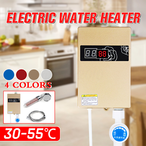 3000W Mini  Electric Tankless Hot Water Heater Shower Kitchen Faucet 220V