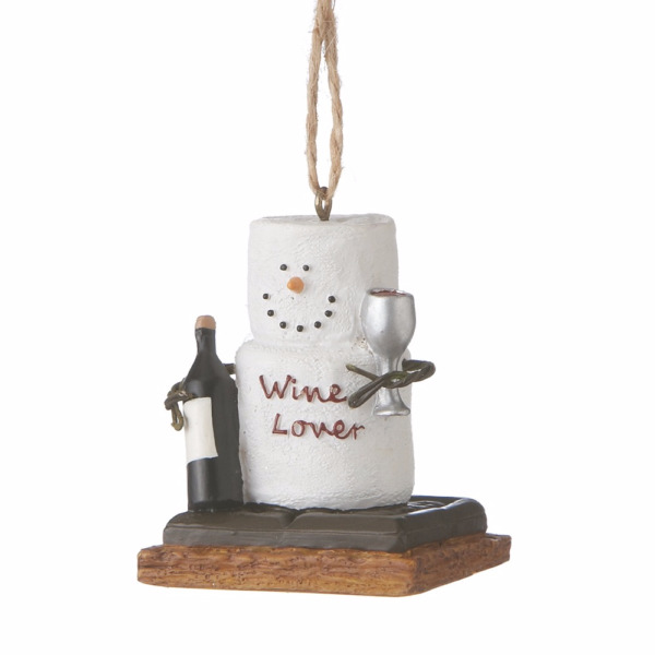 Midwest-CBK – S'more Marshmallow Ornament – Wine Lover Wine Glass Bottle
