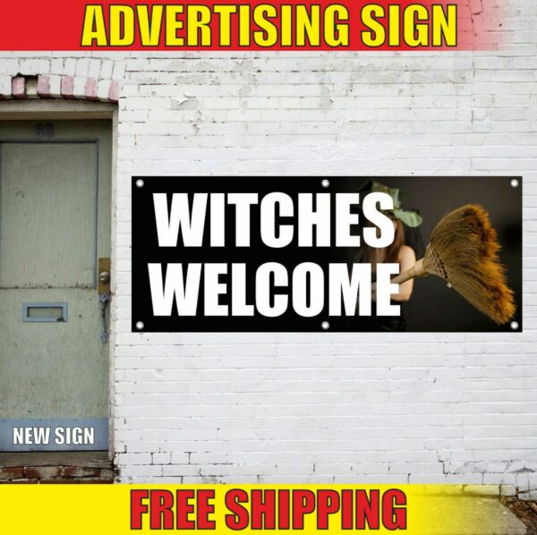 HALLOWEEN decor Advertising Banner Vinyl Sign Flag party house WITCHES WELCOME