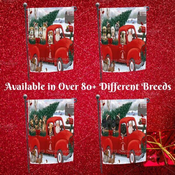Christmas Santa Express Delivery Red Truck Garden flag Dogs Cats Pet Decor