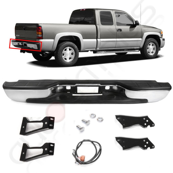 Rear Bumper For 1999 - 2007 Chevy Silverado GMC Sierra 1500 Chrome steel