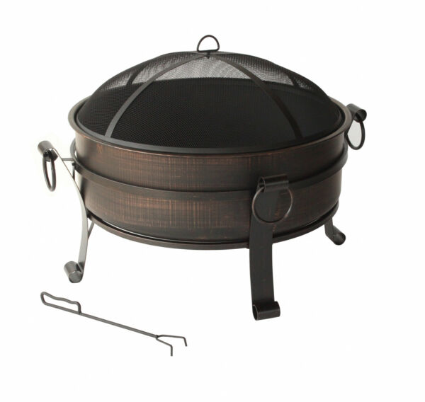 Round Metal Outdoor Fire Pit Fireplace Backyard Deck Wood Burning W Cover 30