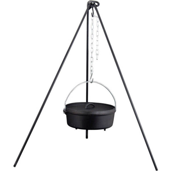 Heavy Duty Cast Iron Dutch Oven Camping Camp Fire Outdoor Cooking Tripod 50 New