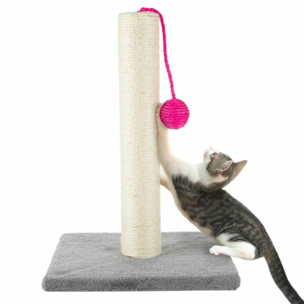 17 Inch Sisal Rope Cat Kitten Scratching Post Plush Base with Toy Ball $17.99