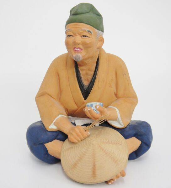 Vintage Hakata Doll Clay Figurine Man w Tea Cup and Straw in Hand Hat Maker 7.5