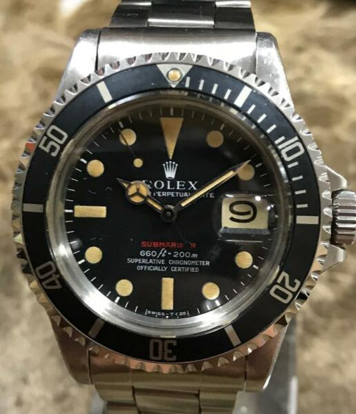 VINTAGE ROLEX RED SUBMARINER 1680 25M SERIAL ca. 1970 UNPOLISHED PUNCHED SET