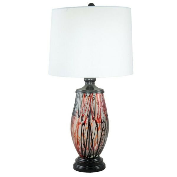 Dale Tiffany Halen Painted Crystal 1 Light Table Lamp Ebony Black - AT18324