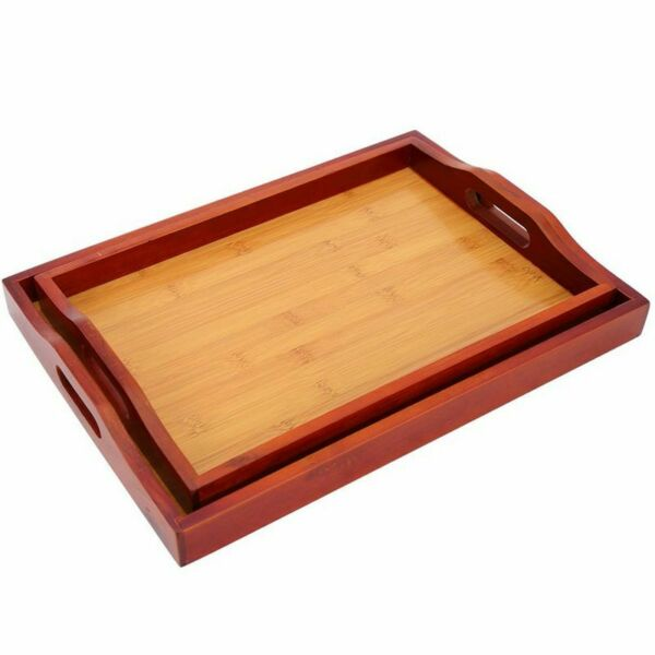 2 Pack Wooden Serving Food Tray with Handle Easy Carry Red Brown 16 x 2 x 12quot;
