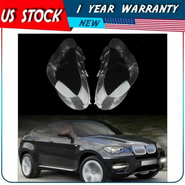 Pair Front Left Right Headlamp Cover Headlight Lens For 2008-2014 BMW X6 E71