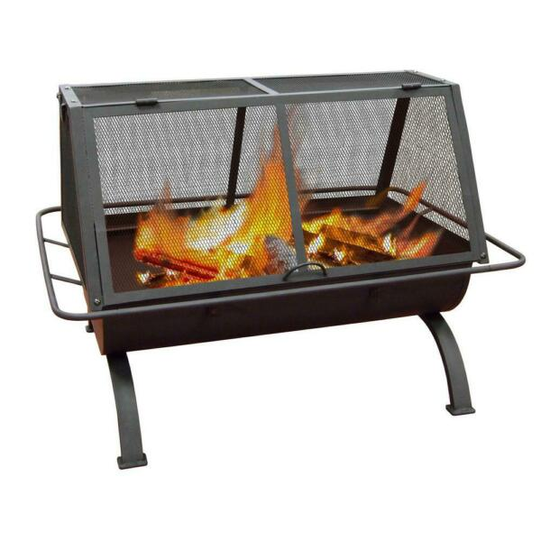 Metal Outdoor Fire Pit Fireplace BBQ Grill Backyard Deck Patio Wood Burning New