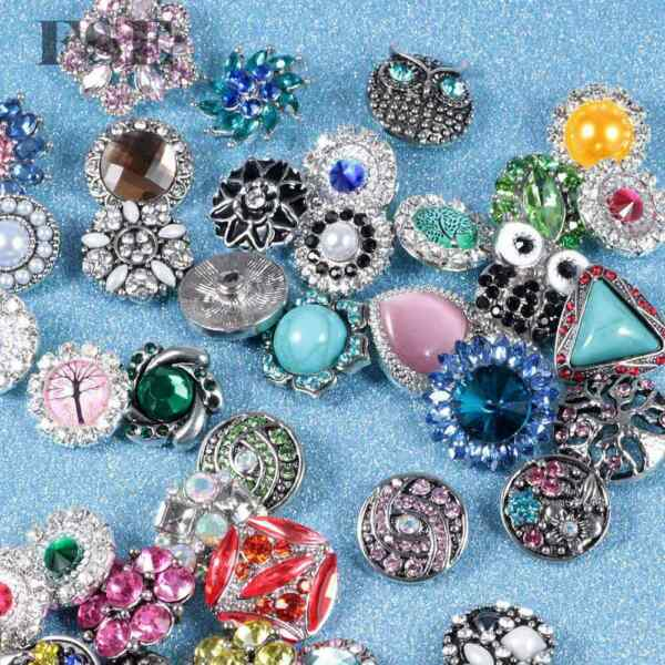 50pcs 18mm Snap Button Multi Rhinestone Mixed Snap Charms For 20mm Snap Jewelry