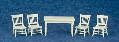 Factory Direct Craft Dollhouse Miniature White Dining Room Set