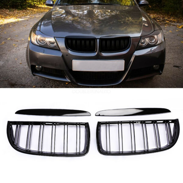 Kidney Grill Grilles For BMW 3 Series E90 E91 Sedan 4Door  2Line Gloos Black