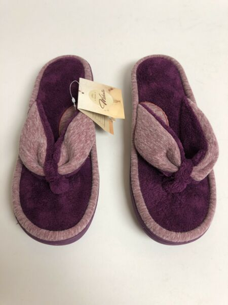 Wishcotton Women's Two-Tone Jersey Purple Flip Flop House Slippers Size 9-10 (L) $31.24