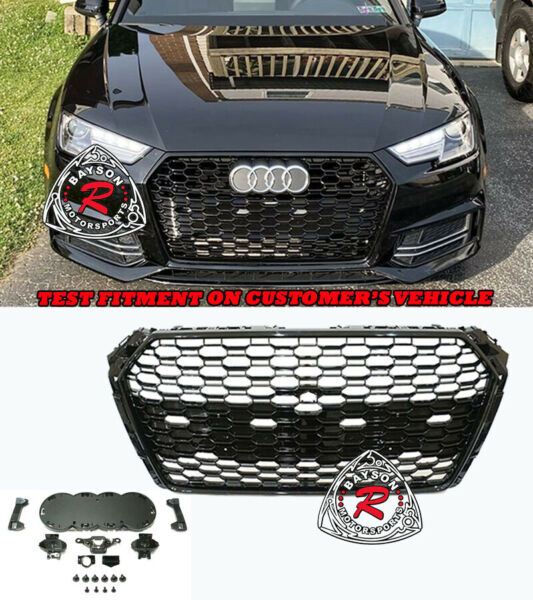 RS4-Style Badgeless Honeycomb Front Grille (Gloss Black) Fit 17-19 Audi A4 S4 B9