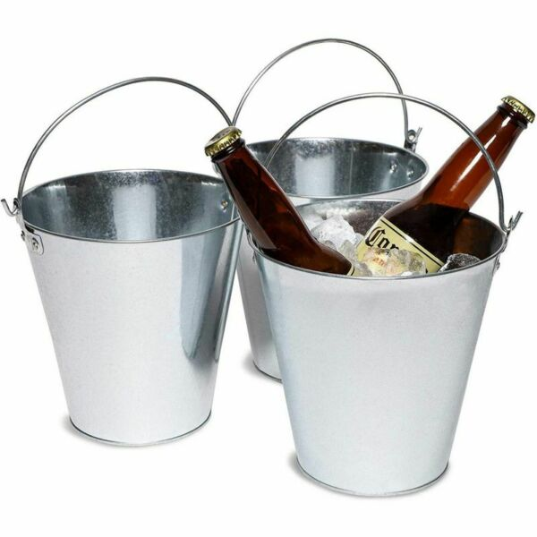3-Pack Galvanized Metal Ice Bucket Pails for Beer Drinks Party Decorations 7
