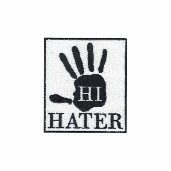 Hi Hater Hand Iron On Embroidered Applique Patch