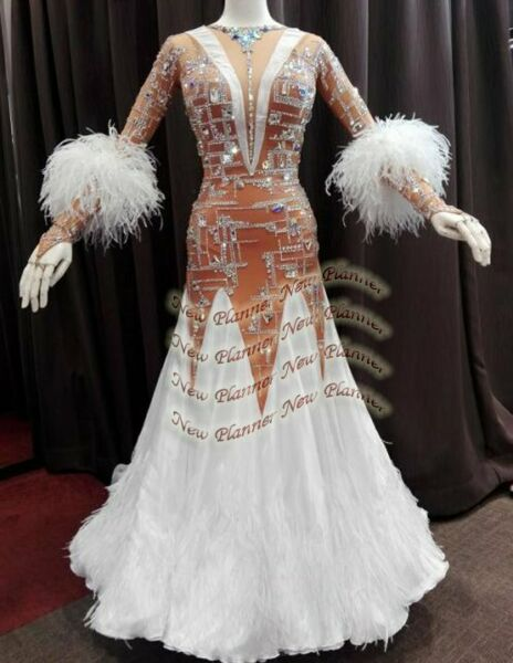B8213 Feather Ballroom Tango Waltz dance Competition dress UK 10 US 8