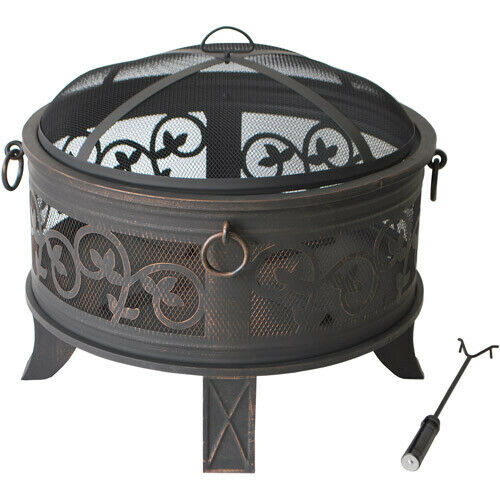 Round Metal Outdoor Fire Pit Fireplace Mesh Cover Backyard Patio Wood Burning 26