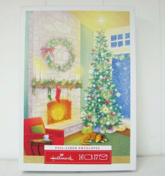 Hallmark Fireplace & Christmas Tree Boxed Cards (16 Cards & 17 Envelopes)