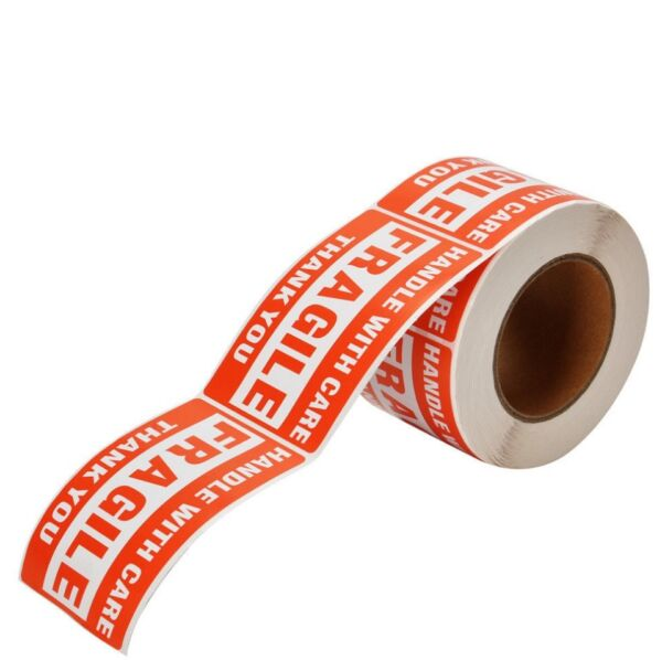 "1 Roll 2"" x 3"" Fragile Handle With Care Stickers Labels 500 Per Roll"