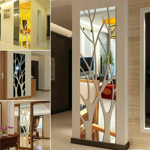 3D Mirror Tree Art Removable Wall Sticker Acrylic Mural Decal Home Room Decor $15.48