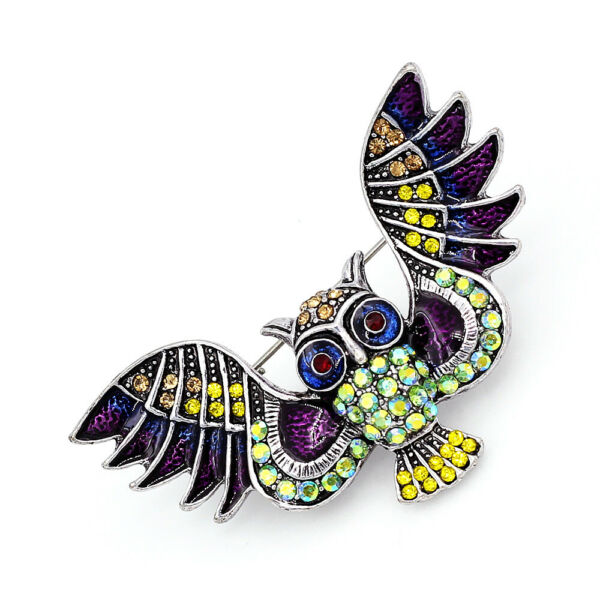 Betsey Johnson Enamel Crystal Owl Charm Women#x27;s Animal Brooch Pin Jewelry Gift