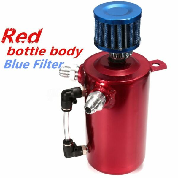 Universal Alloy Car Engine Oil Catch Can Tank Reservoir Breather Filter Red ;