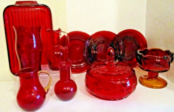 Lot of 10 Vintage Ruby Red dishes crackle thumbprint Amberina Blenco Xmas mix $85.00