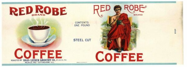 RED ROBE Brand Coffee St. Louis *AN ORIGINAL 1930's TIN CAN LABEL* fold C45