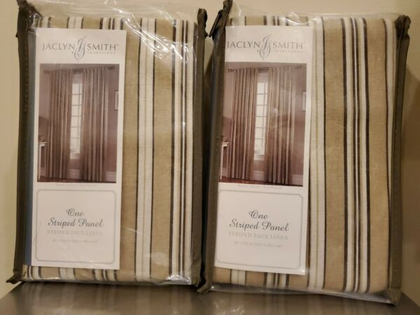 2 Jaclyn Smith 50quot; x 63quot; Taupe Striped Faux Linen Panels Browns NIP