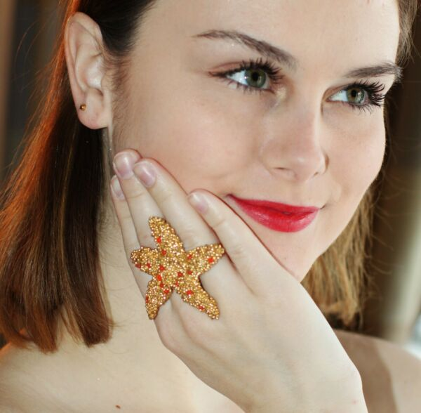KATE SPADE LEMON TART STARFISH STUD EARRINGS & BCBG STARFISH RING LOST GOLD