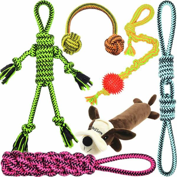 Well Love Dog Toys Chew Toys 100 Natural Cotton Rope Squeak Toys Dog Balls 6Pack