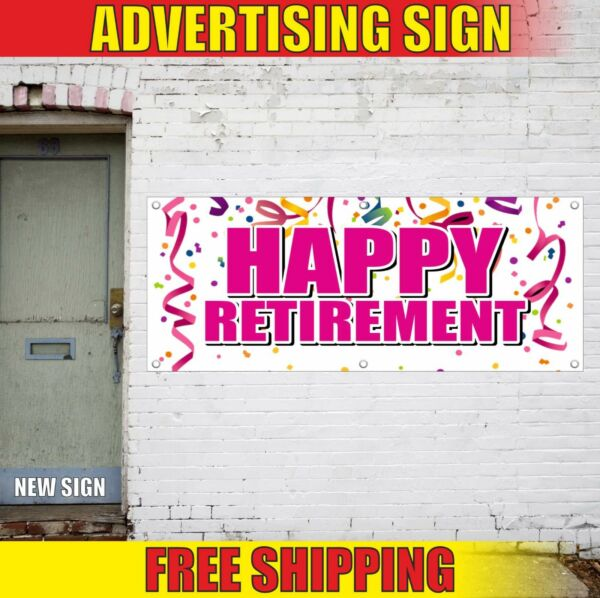 Happy Retirement Banner Advertising Vinyl Sign Flag party decoration supply day